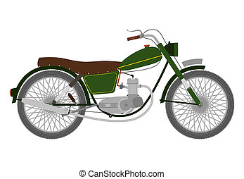 Motorbike - Green Vintage single-engine motorcycle on a...