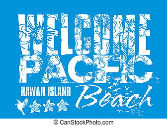 welcome pacific beach vector art