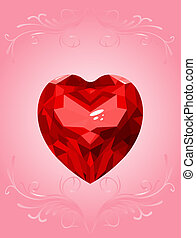 rub - Ruby heart on pink background