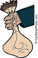 Face Squeeze - Cartoon of face being squeezed in hand over...
