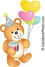 Happy Birthday Teddy Bear - Scalable vectorial image...