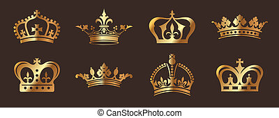 Golden Crowns - A series of shiny metallic gold crown icons