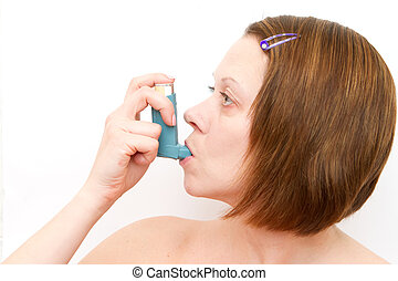 woman inhaling her asthma pump
