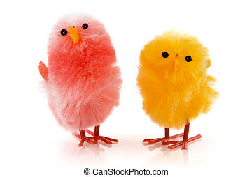 A pair of easter chicken