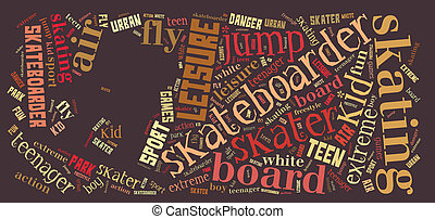 skater word cloud - skateboarder info-text graphic and...