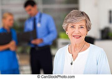 elderly woman in doctors office