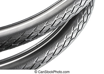 bicycle tyre - black rubber bicycle tyre on white background