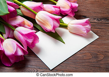 pink tulips and card - bouquet of pink tulips and postcard...