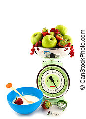 Scale with fruit for diet and yogurt