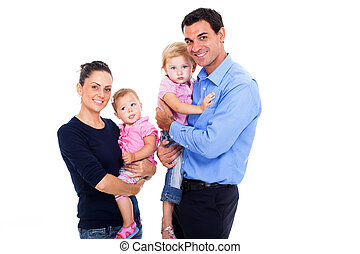 young family on white background - portrait of young family...