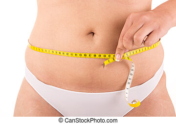 Fat woman measuring her body
