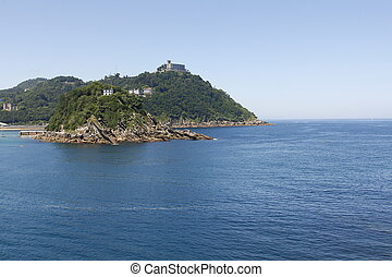 sunny view of the beautiful bay of San Sebastian, Spain