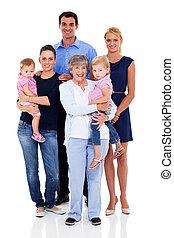 big family - studio portrait of big family on white...