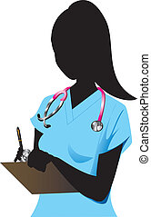 Nurse 1 - Vector Illustration of a Blond woman Nurse 1