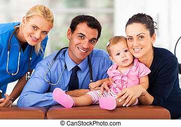 woman and baby girl with health workers portrait in office