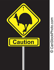 cassowary sign on a black background