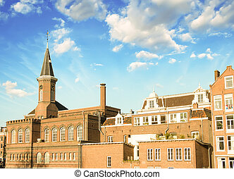 Amsterdam. Classic Buildings of Netherlands with beautiful sky