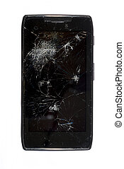 Shattered Smartphone - Black smartphone with a shattered...