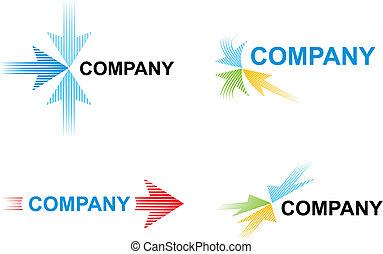 logotipo, modelos, setas