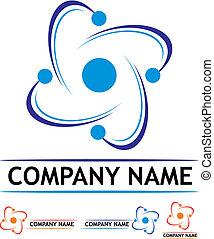 logotipo, Nuclear, poder, estação