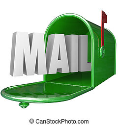 Mail Word Mailbox Postal Delivery New Message Communication...