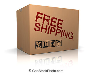 free shipping - 3d illustration of cardboard box with free...