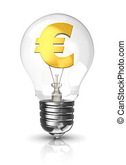 Light bulb with a euro sign - 3d light bulb with a euro sign...