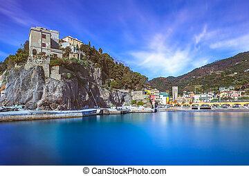 Monterosso village, harbor and sea bay. Cinque terre,...