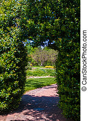 arched entrance into garden