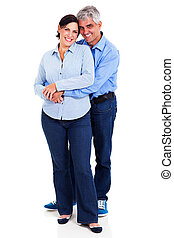 middle aged couple embracing - happy middle aged couple...