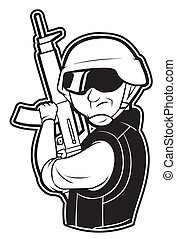 black and white clipart soldier