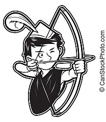 black and white clipart robin hood
