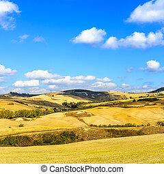 Rural Landscape of Tuscany near Volterra, Italy.