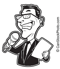 black and white clipart reporter man