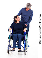 mature man talking to disabled wife isolated on white