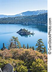 Emerald Bay in Lake Tahoe overlooking Fannette Island