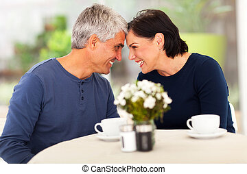 loving mature couple spend time together at home