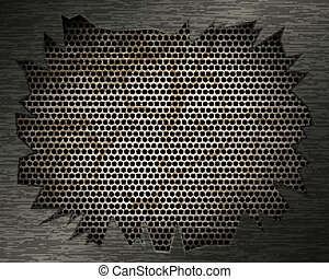 Metal background with grill and torn metal
