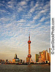 Pearl broadcast tower the bund shanghai china