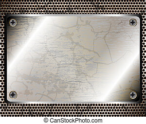 Metallic background with plate