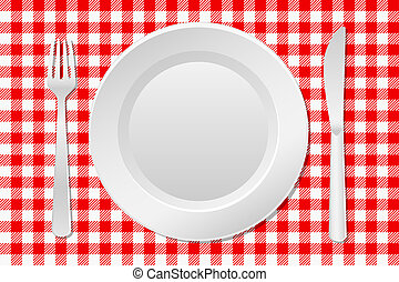laid table - vector illustration of a laid table with an...