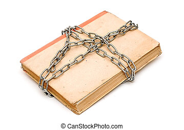 old book with chain isolated on white background