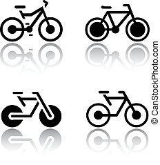 Set of transport icons - bikes, vector illustrations, set...
