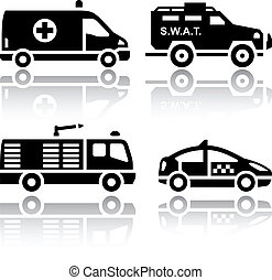 Set of transport icons - Rescue, vector illustrations, set...