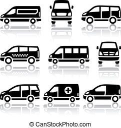 Set of transport icons - Van - Transport icons - Van, vector...