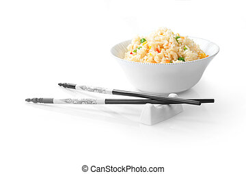 bowl of rice - bowl of vegetable fried rice and chopstick...