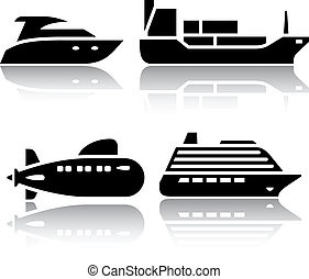 Set of transport icons - Water transport, vector...