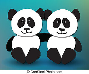 Panda pals - Cute panda pals hugging and smiling