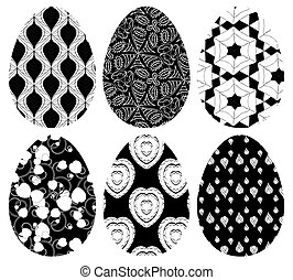 Monochrome set of Easter eggs with pattern on white...