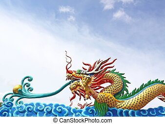 Beautiful dragon with blue sky